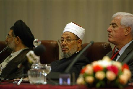 Egyptian-born cleric Sheikh Youssef al-Qaradawi attends opening session of Al-Quds conference in Algiers