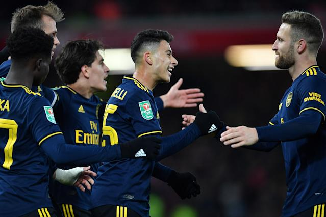 Martinelli celebrates putting Arsenal 3-1 up (Photo by PAUL ELLIS/AFP via Getty Images)
