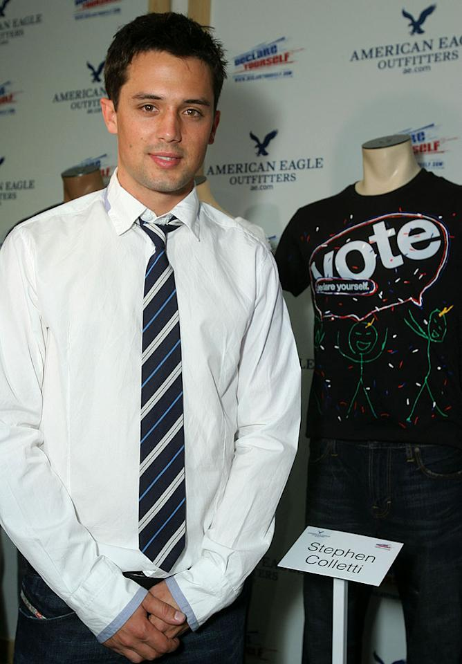 "Former ""Laguna Beach"" star Stephen Colletti proudly stands in front of his creation. Let's just say he won't have a career in fashion like his on/off girlfriend Lauren Conrad. Alexandra Wyman/<a href=""http://www.wireimage.com"" target=""new"">WireImage.com</a> - May 1, 2008"
