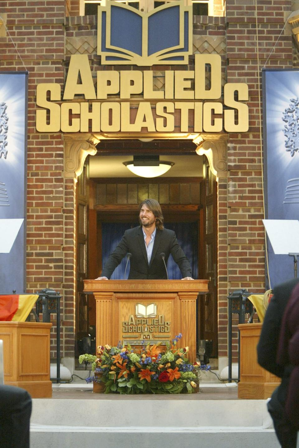 """<div class=""""inline-image__caption""""><p>Scientologist Tom Cruise attends the grand opening of Applied Scholastics International's new headquarters on July 26, 2003, in St.Louis, Missouri. Applied Scholastics is a Scientology-affiliated group.</p></div> <div class=""""inline-image__credit"""">Mark Mainz/Getty</div>"""