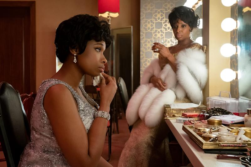 "Jennifer Hudson (left) as Aretha Franklin and Mary J. Blige as Dinah Washington in the MGM film ""Respect."""