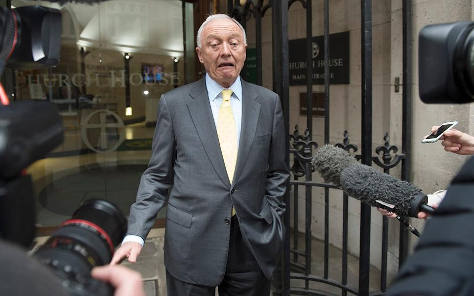 Mr Livingstone, pictured outside his Labour Party disciplinary hearing - Eddie Mulholland