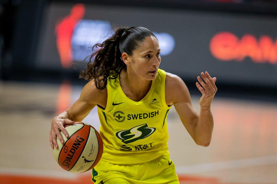 Seattle point guard Sue Bird directs traffic during Game 2 of the 2020 WNBA Finals against the Las Vegas Aces.