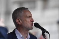 Labour party leader Jeremy Corbyn speaking on stage at an anti-Trump protest in Whitehall, London, on the second day of the state visit to the UK by US President Donald Trump.