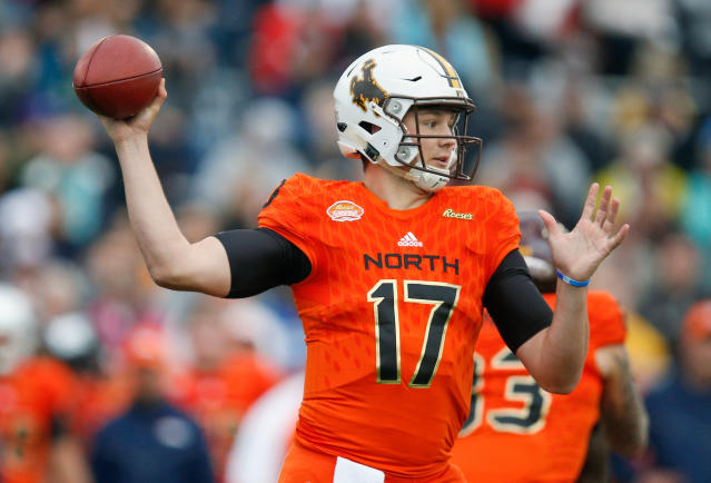 FILE - In this Jan. 27, 2018, file photo, North Squad quarterback Josh Allen of Wyoming prepares to throw during the first half of the Senior Bowl college football game in Mobile, Ala. Every quarterback prospect in the upcoming NFL draft has a major flaw or drawback that keeps them from being the consensus best one of the bunch. (AP Photo/Brynn Anderson, File)