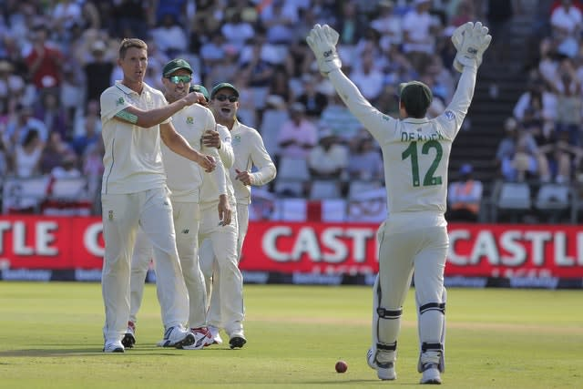 All five of South Africa's bowlers were among the wickets as England were reduced to 262 for nine at stumps (Halden Krog/AP)