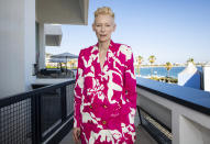 FILE - In this July 10, 2021 file photo Tilda Swinton poses for photographs following the screening of the BFI Cannes Classics film 'Friendship's Death' at the 74th international film festival, Cannes, southern France. (Photo by Vianney Le Caer/Invision/AP, File)