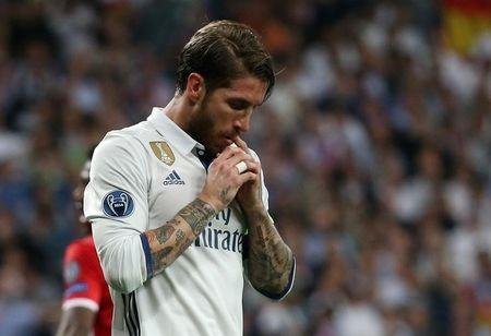 Real Madrid's Sergio Ramos reacts after a missed chance