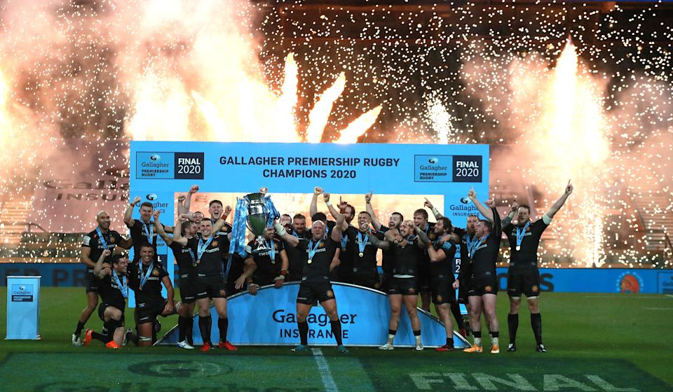 Exeter Chiefs celebrate winning the Premiership title on Saturday after defeating WaspsGetty
