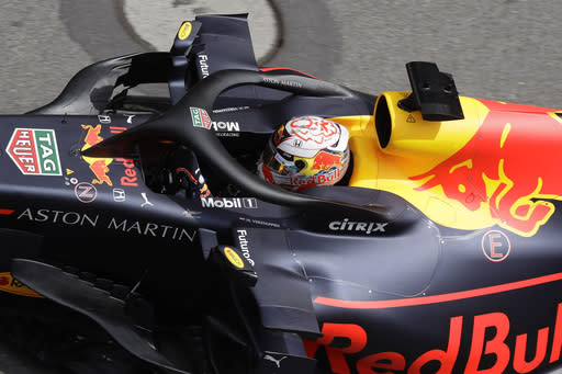 Red Bull driver Max Verstappen of the Netherland's steers his car during the third free practice at the Monaco racetrack, in Monaco, Saturday, May 25, 2019. The Formula one race will be held on Sunday. (AP Photo/Luca Bruno)