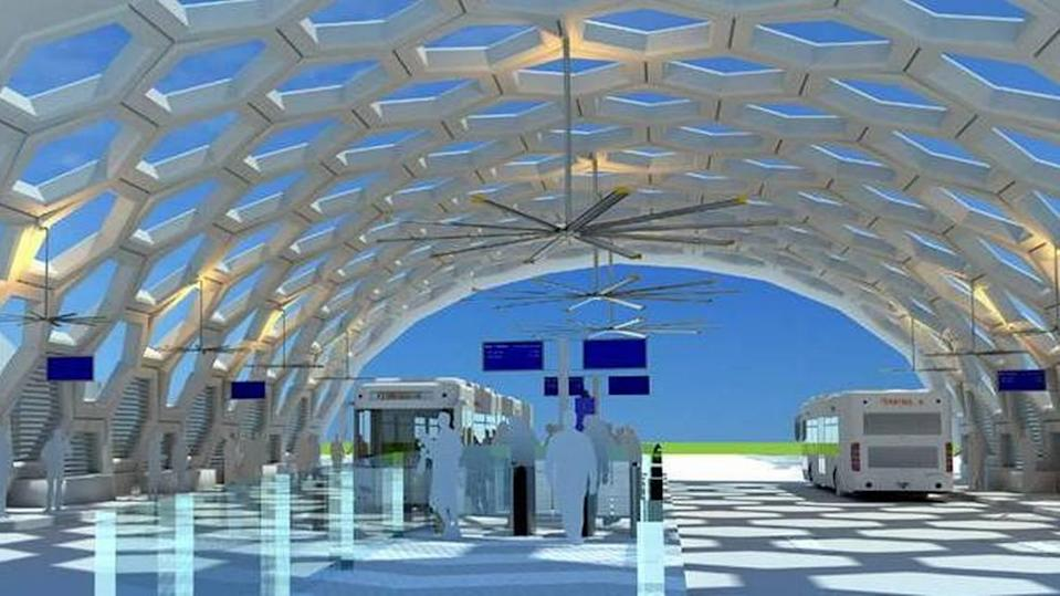 """A rendering of what a rapid-transit bus station could look like in South Miami-Dade under a contested plan Miami-Dade commissioners approved in 2018. Two commissioners running for mayor were on opposite sides of the debate: Esteban """"Steve"""" Bovo Jr. voted for it, and Daniella Levine Cava against it."""