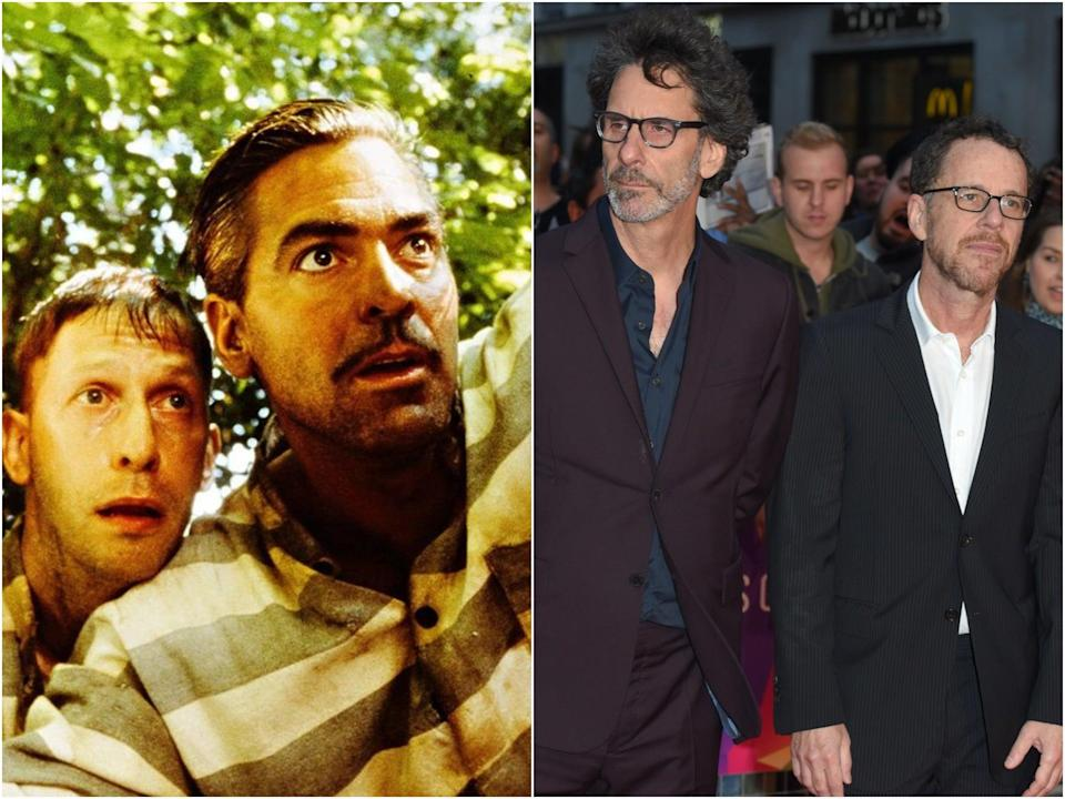 Tim Blake Nelson and George Clooney in 'O Brother, Where Art Thou?' and Joel and Ethan Coen in 2018 (Universal/Anthony Harvey/Getty)