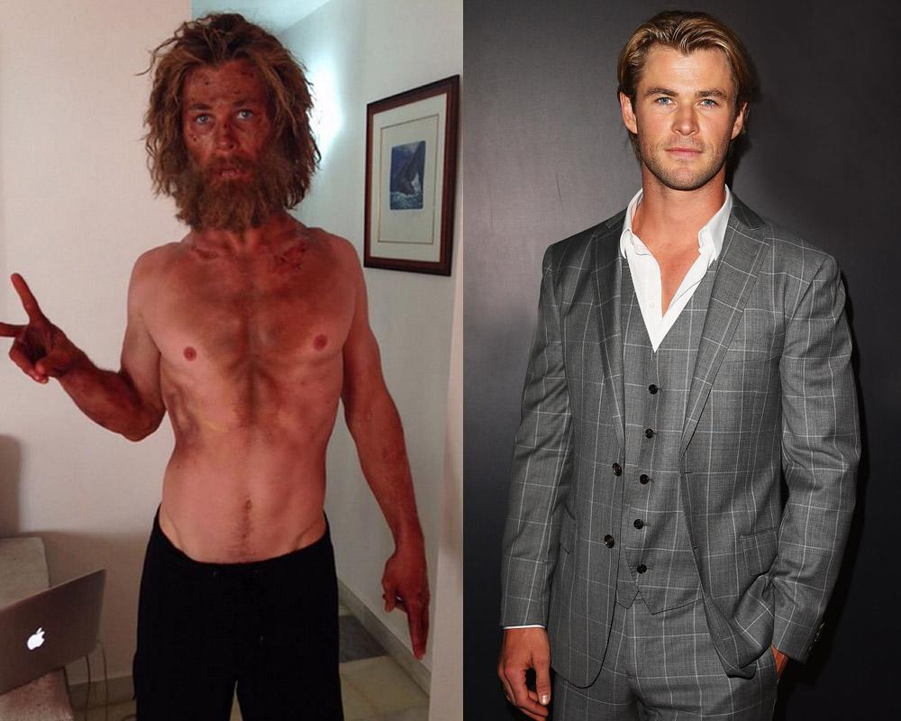 """<p>""""Just tried a new diet/training program called 'Lost At Sea.' Wouldn't recommend it,"""" Hemsworth tweeted. He detailed his staggering weight loss in an interview with <i><a rel=""""nofollow"""" href=""""http://www.menshealth.com/guy-wisdom/chris-hemsworth-body-of-a-hero"""">Men's Health</a></i>. """"We couldn't go away for a month and get skinny, we had to do it while we were shooting,' he says. 'At one point, a day's rations were a boiled egg, a couple of crackers and a celery stick."""" Hemsworth happily got back to his brolic Thor figure after filming was over. """"To get back to looking like Thor is simple: I get in the gym and work out,"""" he says. """"I enjoy it. It keeps me fit and healthy. I've got to eat more calories – certain types and all clean – and it can get boring eating chicken breast and rice and so on. But at least you're fed properly."""" (Photos: Instagram/Getty)<br /></p>"""