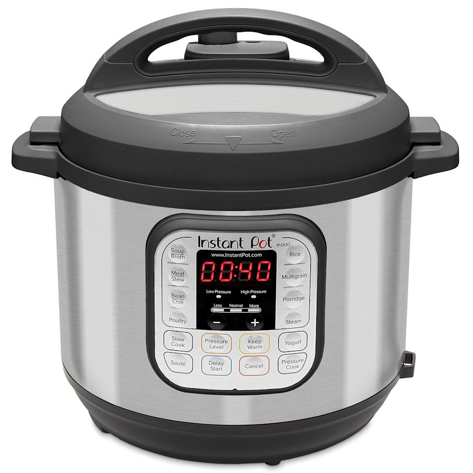 """<strong><h3><a href=""""https://amzn.to/34BqRIU"""" rel=""""nofollow noopener"""" target=""""_blank"""" data-ylk=""""slk:Instant Pot Duo Pressure Cooker"""" class=""""link rapid-noclick-resp"""">Instant Pot Duo Pressure Cooker</a></h3></strong><br>This pressure cooker's popularity has yet to wane — especially when a good sale price is involved. Although <a href=""""https://www.refinery29.com/en-us/2019/11/8858977/instant-pot-deals-black-friday-cyber-monday-2019"""" rel=""""nofollow noopener"""" target=""""_blank"""" data-ylk=""""slk:readers have carted deals"""" class=""""link rapid-noclick-resp"""">readers have carted deals</a> on the holiday season essential in the past, it's currently on super sale for 51% off.<br><br><strong>Instant Pot</strong> 60 7-in-1 Electric Pressure Cooker, $, available at <a href=""""https://amzn.to/34BqRIU"""" rel=""""nofollow noopener"""" target=""""_blank"""" data-ylk=""""slk:Amazon"""" class=""""link rapid-noclick-resp"""">Amazon</a>"""