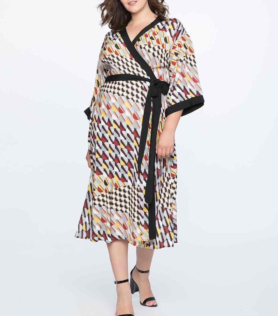 Go for a kimono-style dress in the boldest of prints. Available in sizes 14 to 28.