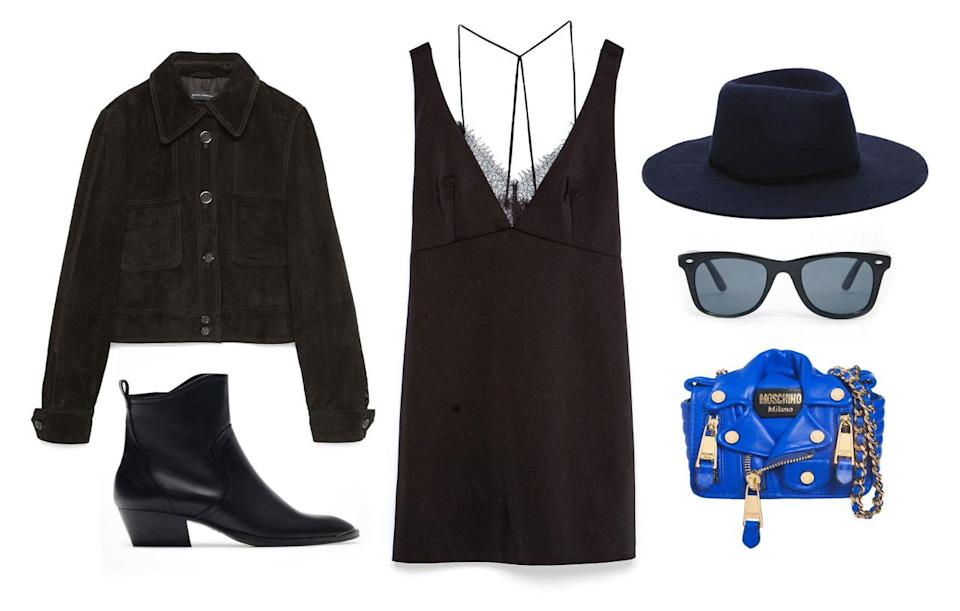 <p>For a statement bag like this Moschino, you can afford to go subtle with your outfit. Embrace your inner urban cowboy by pairing your pretty LBD with a pair of simple black cowboy boots and a suede jacket. Finalize the look with a classic wool hat.</p>