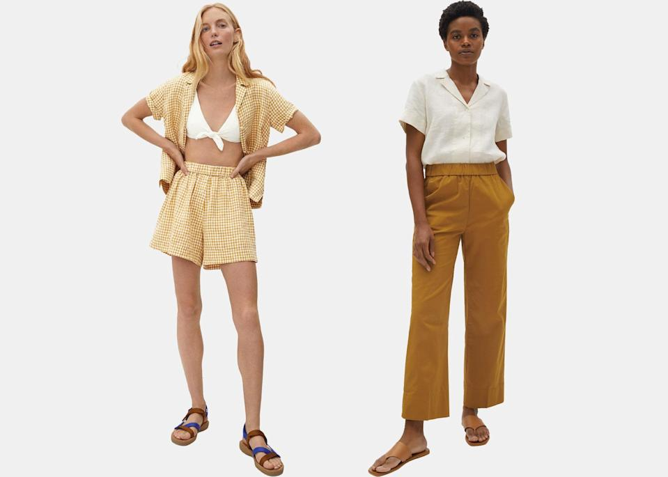 """Everlane has basics down to a T, so it's no surprise we're eyeing pretty much everything in their summer collection, and especially this boxer short and linen shirt combo. The yellow gingham top has already sold out, but you can mix and match the still-in-stock shorts with a canvas or black button-up top. $50, Everlane (shirt). <a href=""""https://www.everlane.com/products/womens-linen-notch-ss-shirt-canvas?collection=womens-tops"""" rel=""""nofollow noopener"""" target=""""_blank"""" data-ylk=""""slk:Get it now!"""" class=""""link rapid-noclick-resp"""">Get it now!</a>"""
