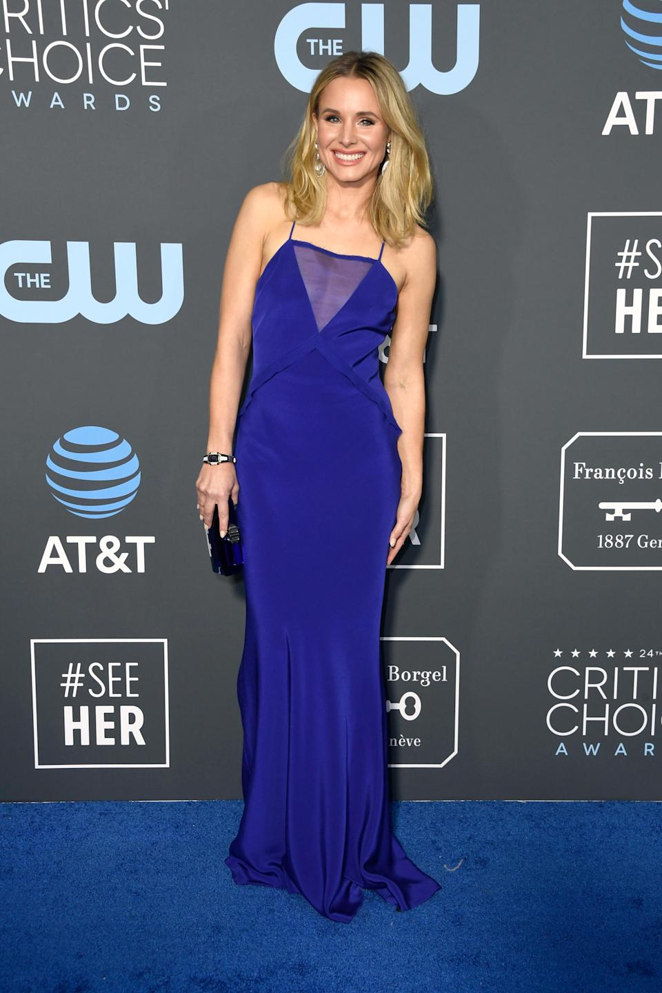 <p>Kristen Bell matched the blue carpet in a sapphire dress. Source: Getty </p>