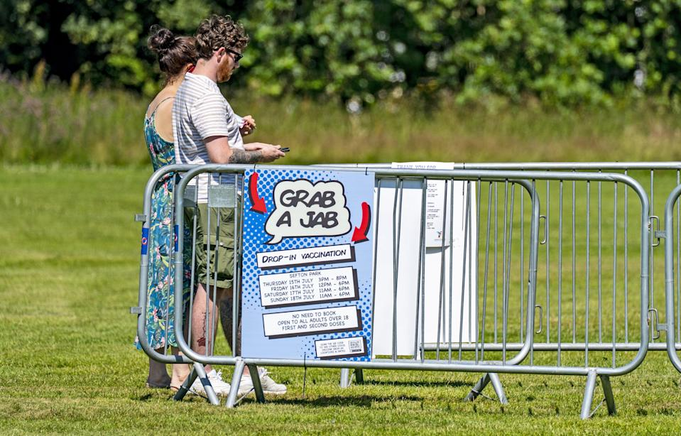 Several parks had pop-up vaccination clinics running (Peter Byrne/PA) (PA Wire)