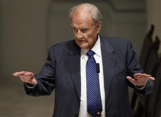 Former U.S. Senator George McGovern speaks during the wake for Sargent Shriver at Holy Trinity Catholic Church in Washington, January 21, 2011. Shriver, a former Democratic vice presidential candidate and brother-in-law of former U.S. President John F. Kennedy, died on January 18, 2011 at age 95. REUTERS/Alex Brandon/Pool (UNITED STATES)
