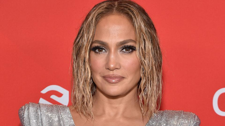 J.Lo rocked a rhinestone-studded mask, and we're all for it. (Photo: Getty)
