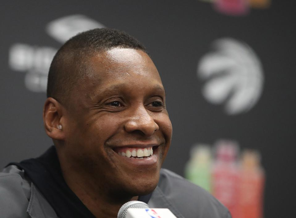 TORONTO, ON- MAY 9  - Masai Ujiri, Raptors president takes questions as the  Toronto Raptors hold media availability after being eliminated by the Cleveland Cavaliers in four games  at the Biosteel Centre on the CNE Grounds in Toronto. May 9, 2018.        (Steve Russell/Toronto Star via Getty Images)