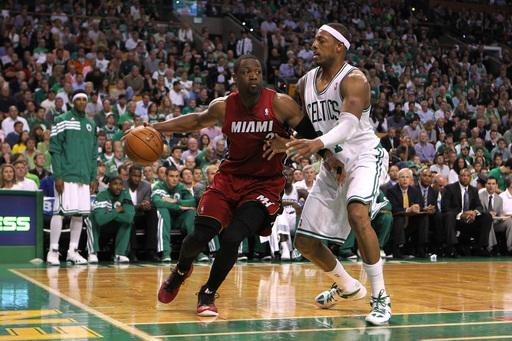 BOSTON, MA - JUNE 07: Dwyane Wade #3 of the Miami Heat drives against Paul Pierce #34 of the Boston Celtics in Game Six of the Eastern Conference Finals in the 2012 NBA Playoffs on June 7, 2012 at TD Garden in Boston, Massachusetts. (Photo by Jim Rogash/Getty Images)