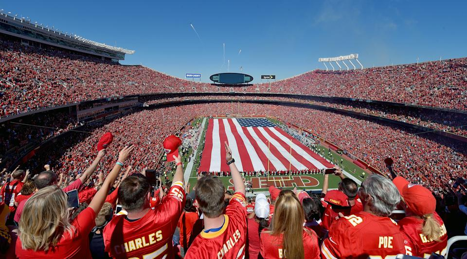 Kansas City Chiefs fans salute at the end of the National Anthem as a B2 stealth bomber and fireworks fly overhead before Sunday's football game against the San Diego Chargers on Sunday, Sept. 11, 2016 at Arrowhead Stadium in Kansas City, Mo. (John Sleezer/Kansas City Star/Tribune News Service via Getty Images)