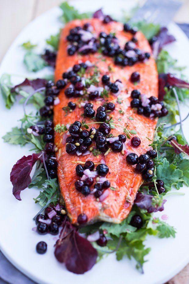 """<strong>Get the <a href=""""http://www.feastingathome.com/2014/07/grilled-salmon-with-pickled-huckleberries.html"""" target=""""_blank"""">Huckleberry Salmon Recipe recipe</a> from Feasting at Home</strong>"""