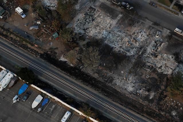 <p>An aerial view of properties destroyed by the Tubbs Fire is seen in Santa Rosa, Calif., Oct. 11, 2017. (Photo: Stephen Lam/Reuters) </p>