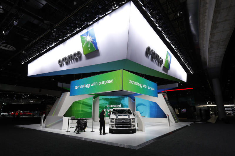 The Aramco exhibit is shown at the 2018 North American International Auto Show January 16, 2018 in Detroit, Michigan. Photo: Bill Pugliano/Getty Images