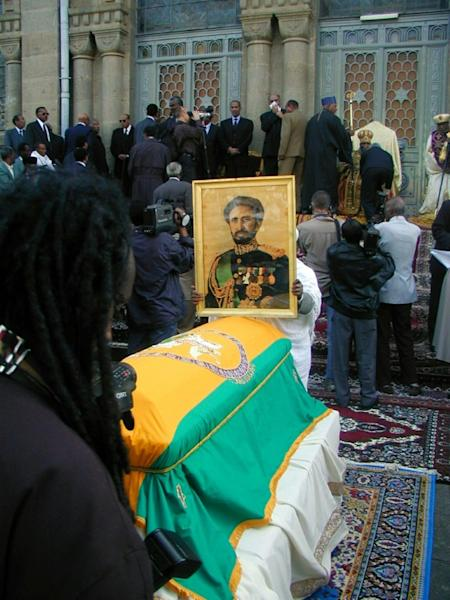 The funeral of Haile Selassie in 2000, more than 25 years after his death