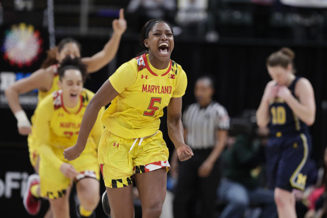 Maryland guard Kaila Charles (5) celebrates after Maryland defeated Michigan in an NCAA college basketball semifinal game at the Big Ten Conference tournament in Indianapolis, Saturday, March 9, 2019. Maryland defeated Michigan 73-72. (AP Photo/Michael Conroy)