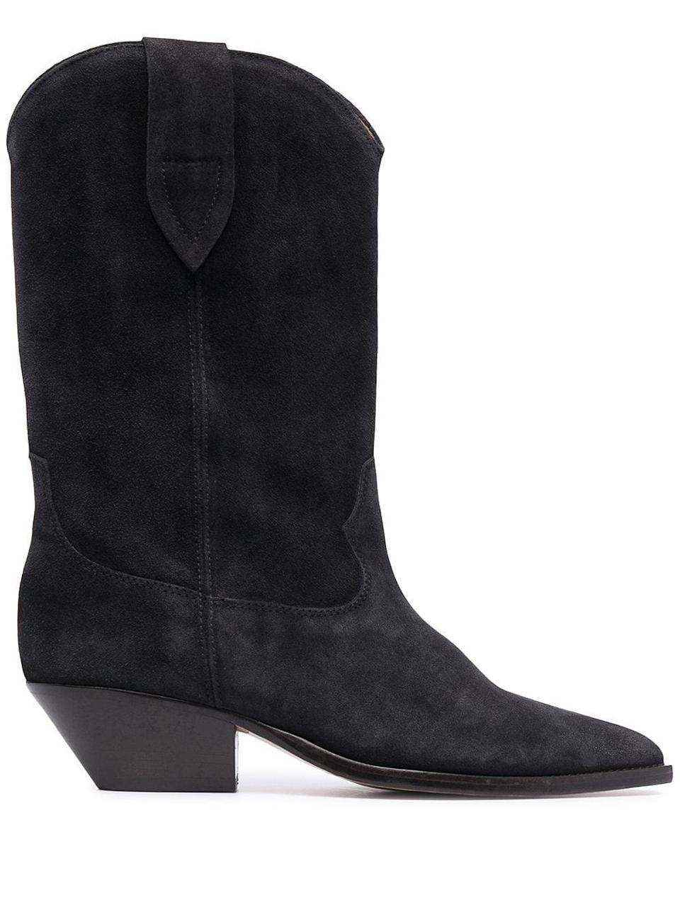 <p>We'd wear these <span>Isabel Marant Duerto Western Suede Boots</span> ($790) with just about any outfit. The suede makes the black seem softer, and we like it with a long flowy dress.</p>