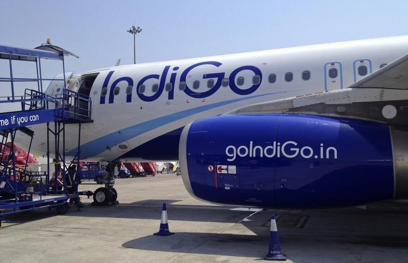 An IndiGo Airlines A320 aircraft is parked on the tarmac at Rajiv Gandhi International Airport in Hyderabad