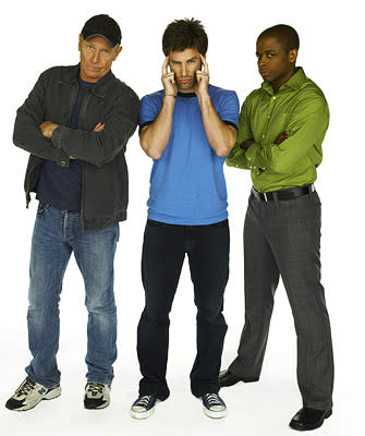 "Corbin Bernsen, James Roday and Dule Hill in ""Psych."""