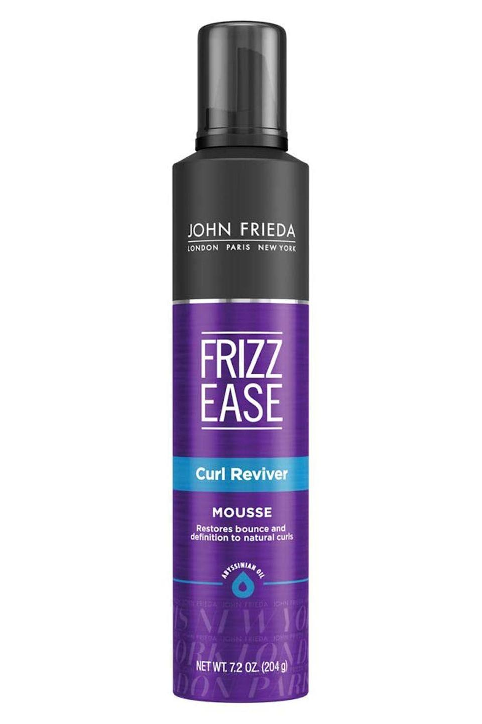 """<p><strong>John Frieda</strong></p><p>ulta.com</p><p><strong>$8.99</strong></p><p><a href=""""https://www.ulta.com/frizz-ease-take-charge-curl-boosting-mousse?productId=xlsImpprod620036"""" rel=""""nofollow noopener"""" target=""""_blank"""" data-ylk=""""slk:Shop Now"""" class=""""link rapid-noclick-resp"""">Shop Now</a></p><p>This mousse is basically a requirement for whenever your curls are feeling a bit <em>meh</em>. The lightweight, <strong>alcohol-free formula will give your hair the right amount of volume and shine,</strong> without drying them out. Scrunch three pumps of the product through damp hair with your fingertips. The result? Defined, super-bouncy curls that still have definition.</p>"""