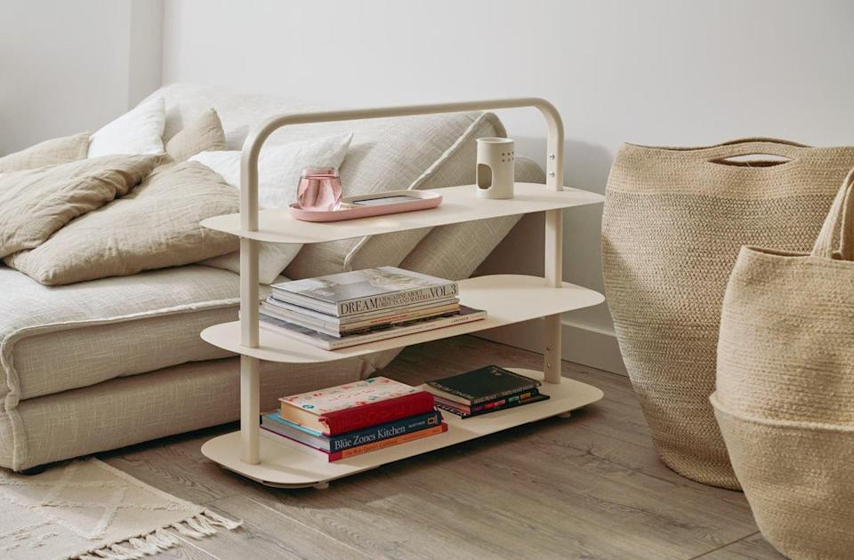 """<p>This <span>Open Spaces Entryway Rack</span> ($174 comes in a number of pretty shades, and it can used as a bookshelf, shoe rack, or the combination of both! It's even <a href=""""https://www.popsugar.com/home/best-stylish-shoe-rack-for-small-spaces-47653721"""" class=""""link rapid-noclick-resp"""" rel=""""nofollow noopener"""" target=""""_blank"""" data-ylk=""""slk:an editor favorite pick"""">an editor favorite pick</a>.</p>"""
