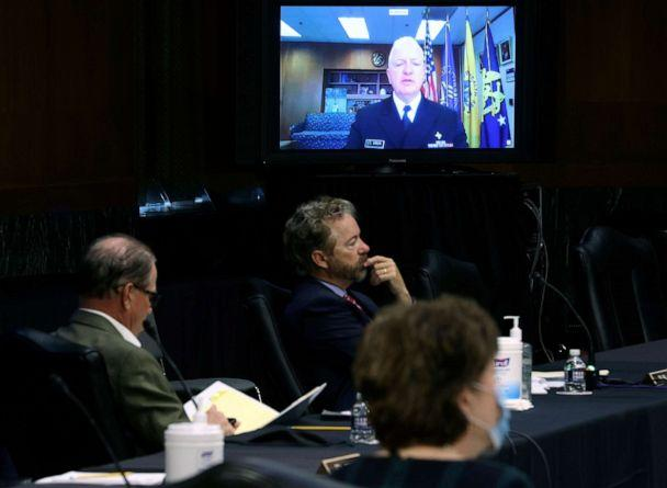 PHOTO: Senators listen to HHS Assistant Secretary for Health Admiral Brett Giroir speak remotely during a virtual Senate Committee for Health, Education, Labor, and Pensions hearing, May 12, 2020 on Capitol Hill in Washington. (Win Mcnamee/AP)