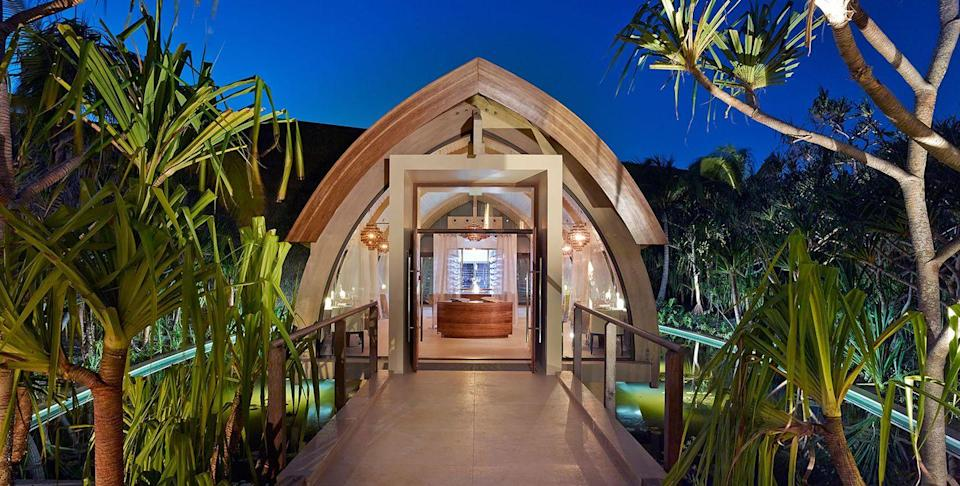 """<p>Tucked among the technicolor beauty of Tetiaroa, a remote private island 30 miles north of Tahiti, is this romantic retreat. The island gets its name from the late actor Marlon Brando, who purchased it in 1967 to be near a Tahitian actress he fell in love with while filming <em>Mutiny on the Bounty</em>. The resort, which can only be accessed by The Brando's private plane, is a 35-villa retreat, and each villa comes with its own private plunge pool and beach on a three-mile lagoon. If you want to explore your environs, hop on a set of bicycles for a jaunt to the spa, fitness center, infinity pool, or tennis court. Meals here are the Michelin-star variety, with restaurants like Les Mutinés, where you can savor fine French fair by moonlight.</p><p><a class=""""link rapid-noclick-resp"""" href=""""https://thebrando.com/"""" rel=""""nofollow noopener"""" target=""""_blank"""" data-ylk=""""slk:Book"""">Book</a></p>"""