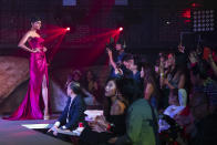Mohana Phraba competing in the evening gown segment during the 2019 Miss Universe Singapore at Zouk.