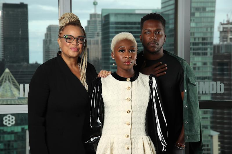 TORONTO, ONTARIO - SEPTEMBER 08: Actress Cynthia Erivo, actor Leslie Odom Jr. and director Kasi Lemmons of 'Harriet' attend The IMDb Studio Presented By Intuit QuickBooks at Toronto 2019 at Bisha Hotel & Residences on September 08, 2019 in Toronto, Canada. (Photo by Rich Polk/Getty Images for IMDb)