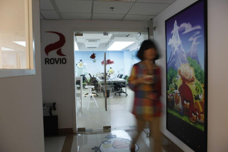Employee walks out an office of Rovio, the company which created the video game Angry Birds, in Shanghai