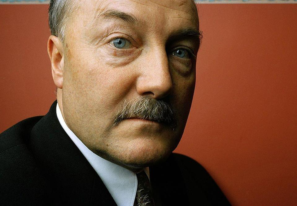 <p>The British politician's thick, pronounced mustache became a part of his signature look as he led his constituents.</p>
