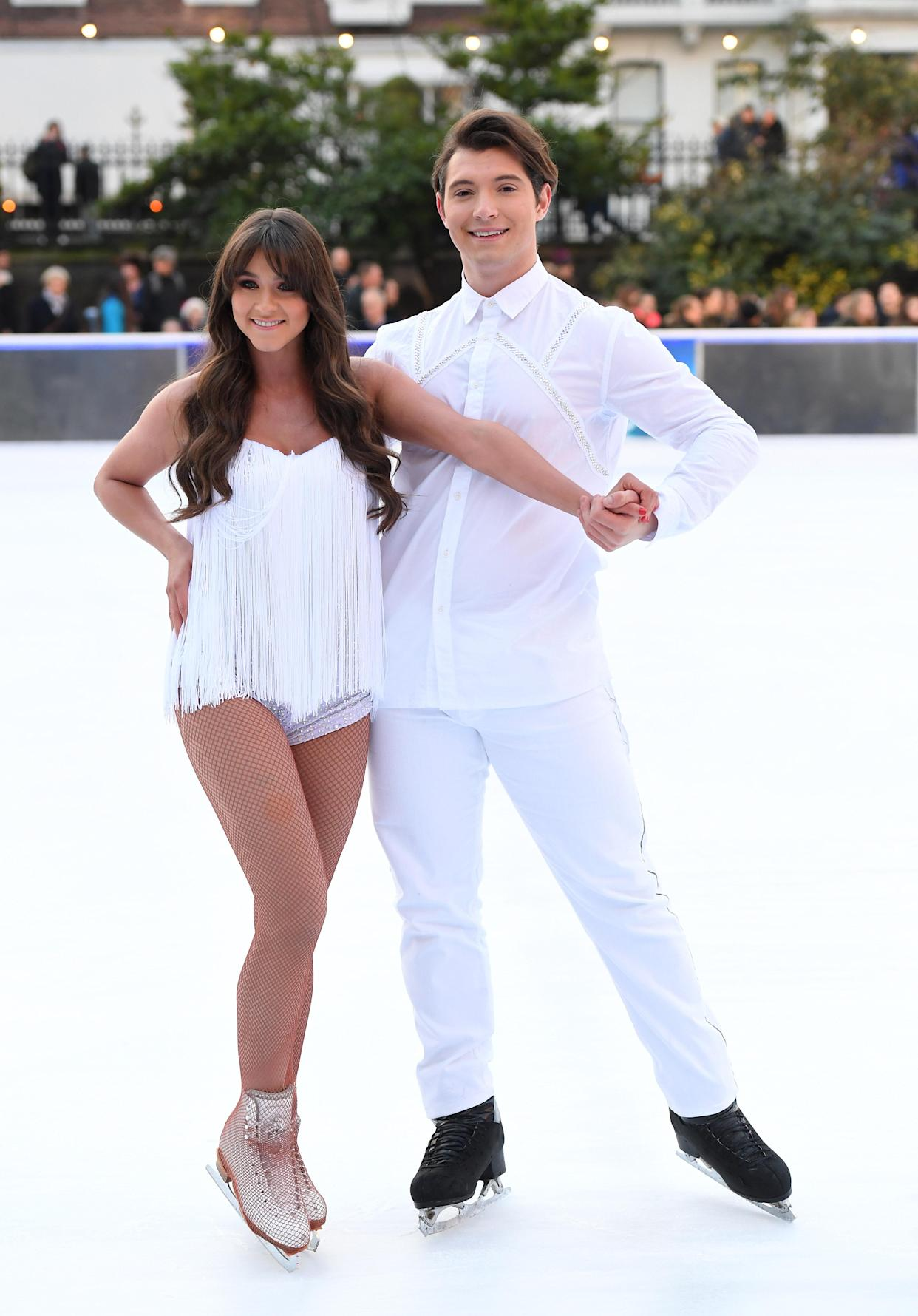 LONDON, ENGLAND - DECEMBER 19:  Brooke Vincent and Matej Silecky attend the Dancing On Ice 2018 photocall held at Natural History Museum Ice Rink on December 19, 2017 in London, England.  (Photo by Karwai Tang/WireImage)