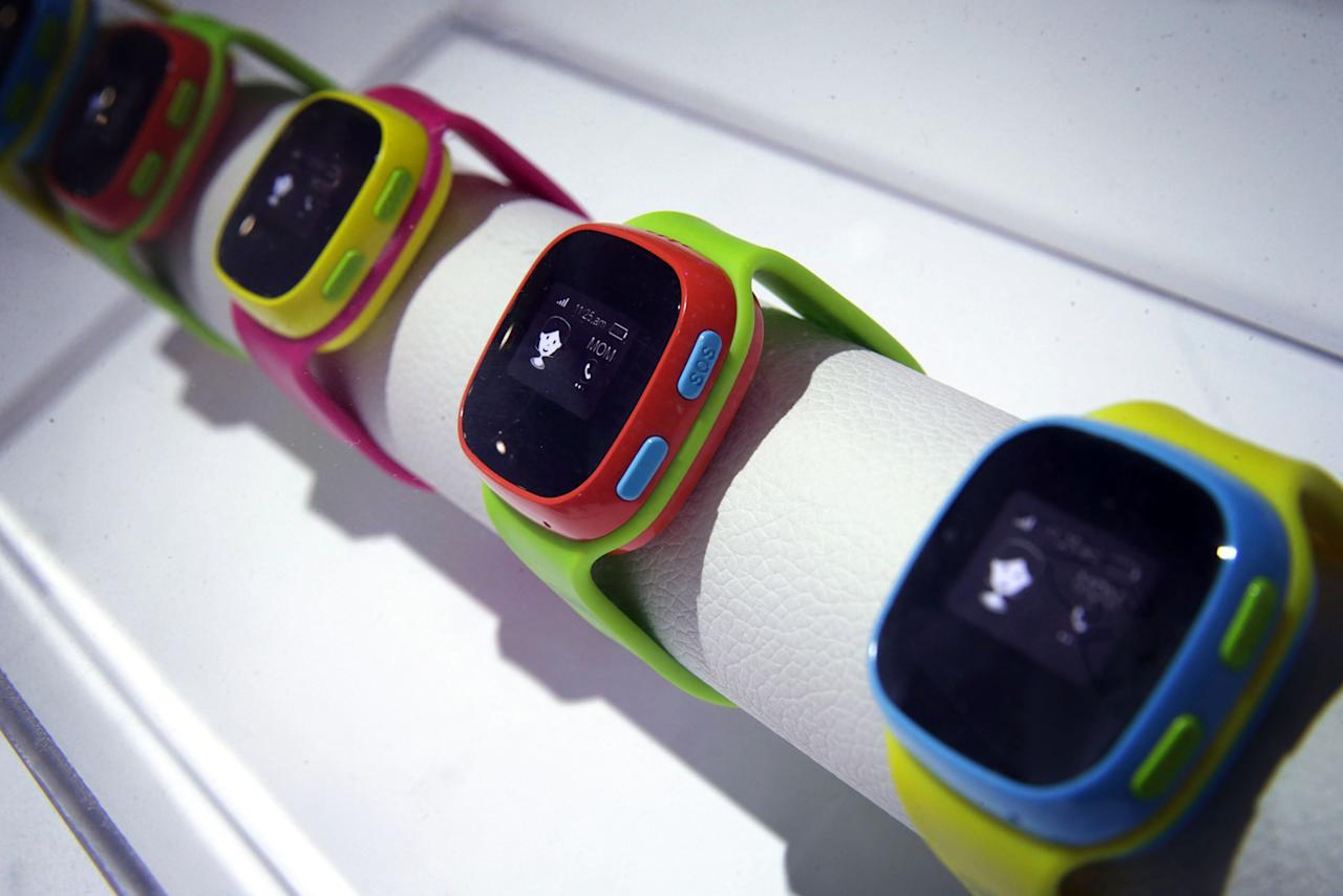 LAS VEGAS, NV - JANUARY 07: The Alcatel CareTime kid's smartwatch, which equip with its own SIM card for children to call for help with the five pre-set numbers their parents approve and a GPS tracker that allows parents to set safety boundary on Google Map and get alert if their kids exit that area, is on display at CES 2016 at the Las Vegas Convention Center on January 7, 2016 in Las Vegas, Nevada. CES, the world's largest annual consumer technology trade show, runs through January 9 and features 3,600 exhibitors showing off their latest products and services to more than 150,000 attendees. (Photo by Alex Wong/Getty Images)
