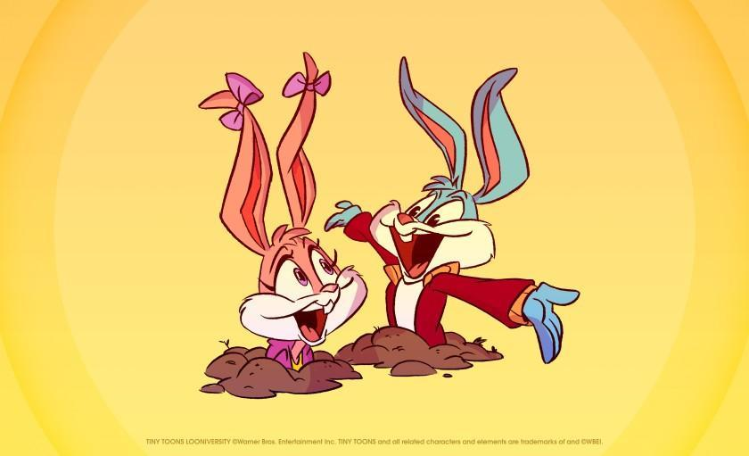 two cartoon bunnies popping out of holes in the ground
