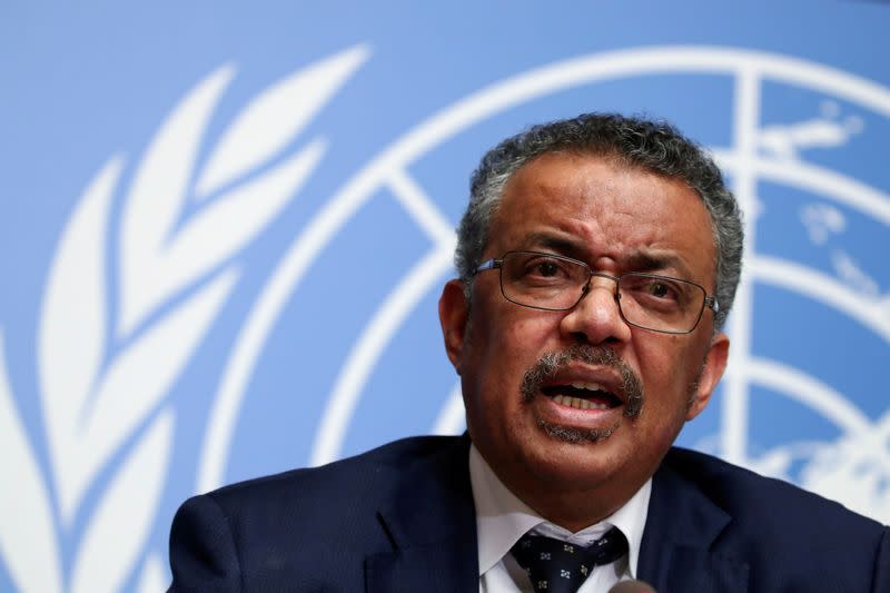 FILE PHOTO: Director-General of the World Health Organization (WHO) Tedros Adhanom Ghebreyesus speaks during a news conference on the situation of the coronavirus at the United Nations, in Geneva