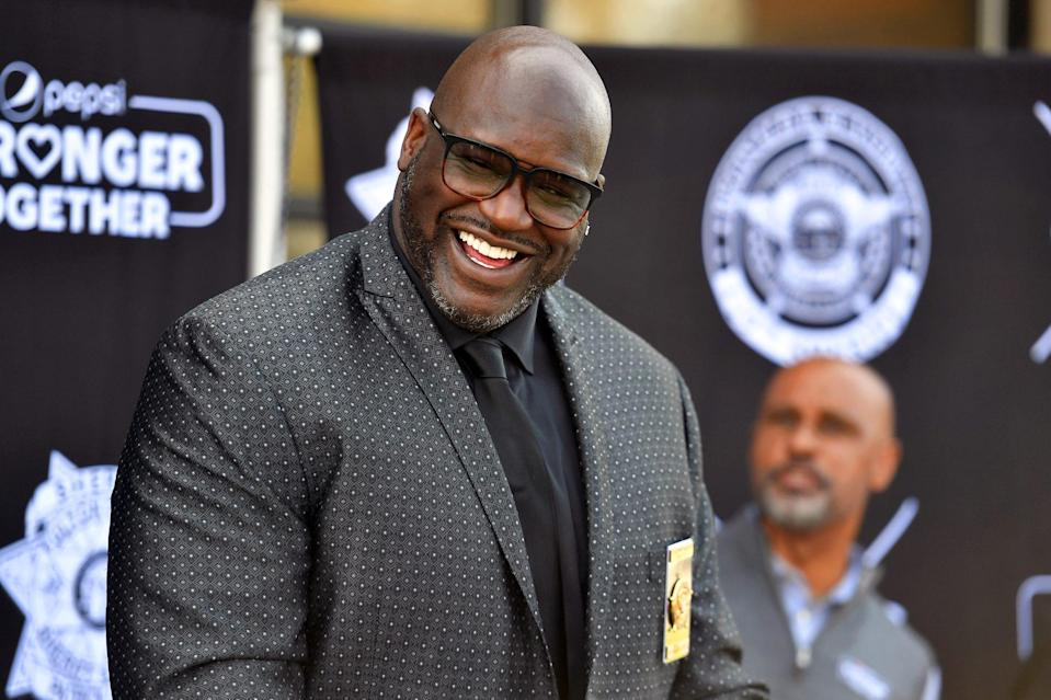 <p>A smiling Shaquille O'Neal speaks during the Pepsi Stronger Together and CTG Foundation ATL Press Conference on Wednesday in McDonough, Georgia.</p>