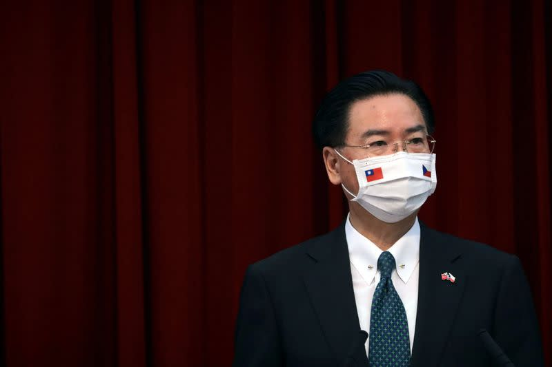 Taiwan's Foreign Minister Joseph Wu speaks at a news conference in Taipei,